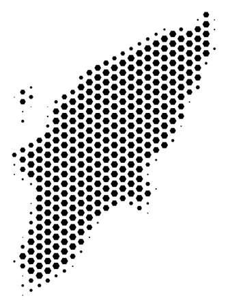 Hexagonal Greek Rhodes Island map. Vector halftone territory plan on a white background. Abstract Greek Rhodes Island map collage is created with hexagonal items.