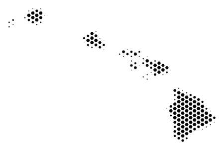 Hexagon Hawaii Islands map. Vector halftone territorial scheme on a white background. Abstract Hawaii Islands map collage is done with hexagon pixels.