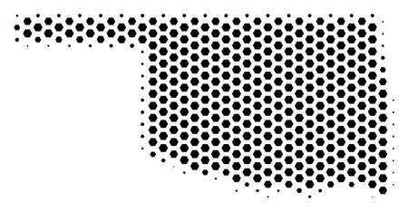 Honeycomb Oklahoma State map. Vector halftone geographic plan on a white background. Abstract Oklahoma State map composition is done from hexagon cells.