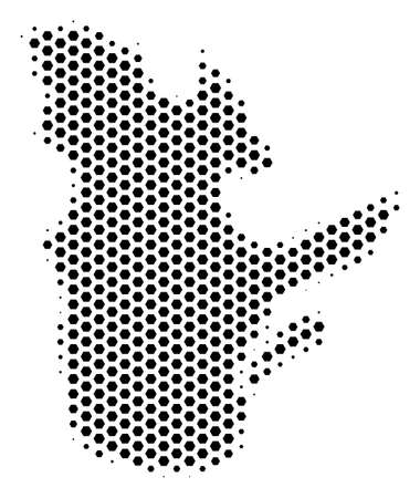 Hexagonal Quebec Province map. Vector halftone geographic scheme on a white background. Abstract Quebec Province map concept is made with hex tile pixels. Illustration