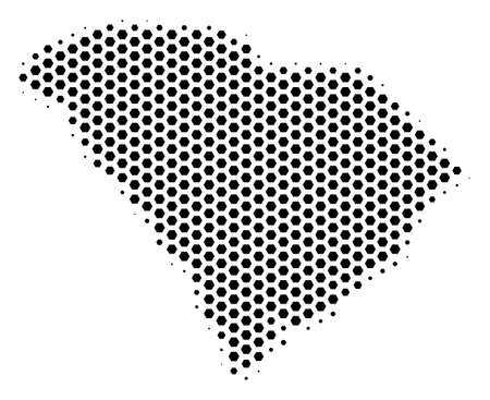 Hex-tile South Carolina State map. Vector halftone territory plan on a white background. Abstract South Carolina State map mosaic is done from hex-tile blots. 矢量图像