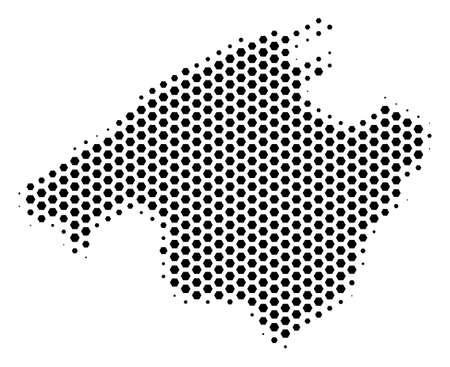 Hex pixel Spain Mallorca Island map. Vector halftone territorial plan on a white background. Abstract Spain Mallorca Island map collage is designed from hex-tile pixels.