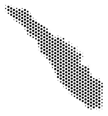 Hex tile Sumatra Island map. Vector halftone territory plan on a white background. Abstract Sumatra Island map mosaic is built of hex-tile spots. Illustration