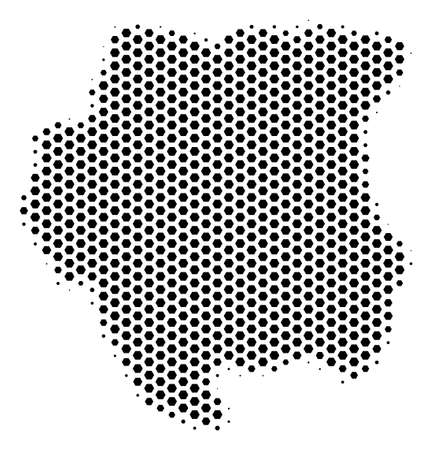 Hexagon Suriname map. Vector halftone geographic scheme on a white background. Abstract Suriname map mosaic is composed with hex-tile pixels.