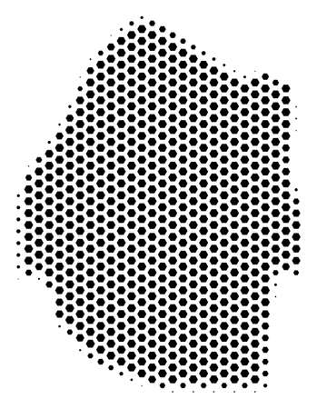 Hex tile Swaziland map. Vector halftone territorial scheme on a white background. Abstract Swaziland map composition is designed from hexagon blots.