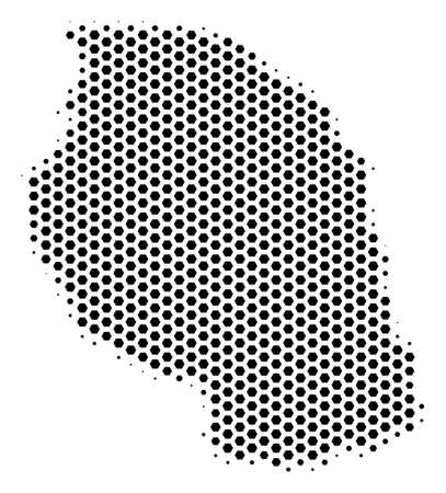 Hex-tile Tanzania map. Vector halftone geographic scheme on a white background. Abstract Tanzania map mosaic is composed of hexagonal items.