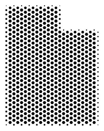 Hex tile Utah State map. Vector halftone territory scheme on a white background. Abstract Utah State map composition is built of hex tile cells.