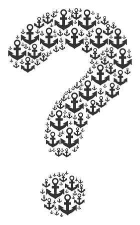 Query collage composed of anchor pictograms. Vector anchor icons are united into unknown illustration.