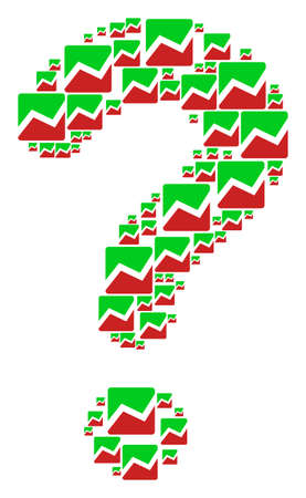 FAQ mosaic made from analytics chart elements. Vector analytics chart icons are arranged into question mark combination. Illustration