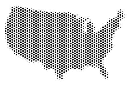 Honeycomb USA map. Vector halftone geographic plan on a white background. Abstract USA map composition is combined of hexagon cells.