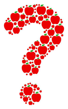 Question mark shape made from apple pictograms. Vector apple icons are arranged into unknown illustration.