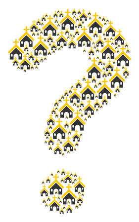 Question mark figure built of Christian church items. Vector Christian church icons are combined into answer illustration.