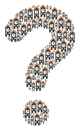 Answer shape formed with clock tower icons. Vector clock tower icons are combined into advise illustration. Stock Illustratie