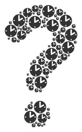 Prompt composition formed from clock pictograms. Vector clock icons are organized into research composition.