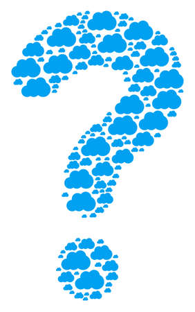 Unknown composition built of cloud components. Vector cloud icons are arranged into question collage.
