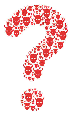 Question mosaic created with demon head items. Vector daemon head icons are composed into SQL combination.