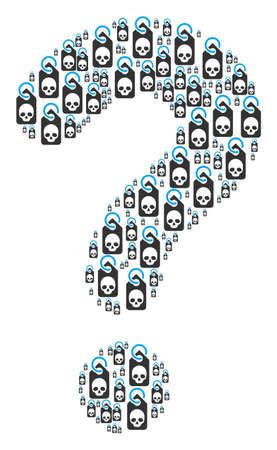Question figure created from death skull tag objects. Vector death skull tag icons are united into secret composition.