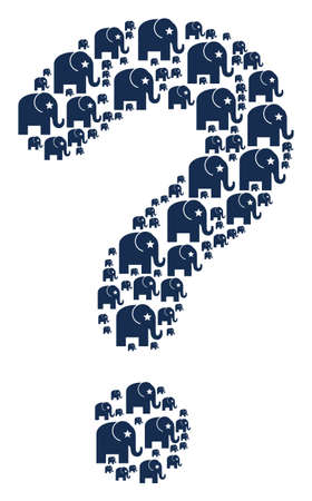 Query composition made with elephant pictograms. Vector elephant icons are composed into ask mosaic.