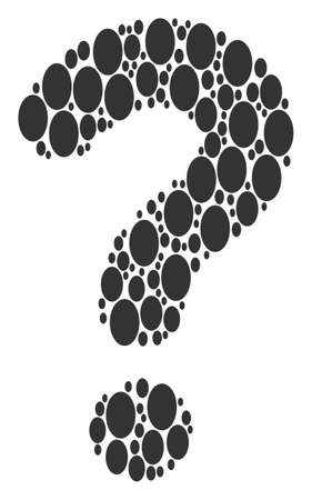 Question mark mosaic built with filled ellipse elements. Vector filled ellipse icons are arranged into answer mosaic.