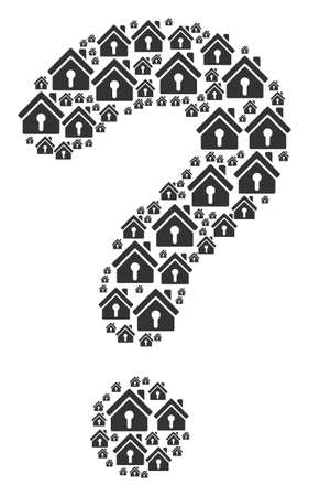 Question mark mosaic built of home keyhole components. Vector home keyhole icons are combined into helpdesk illustration. Illustration