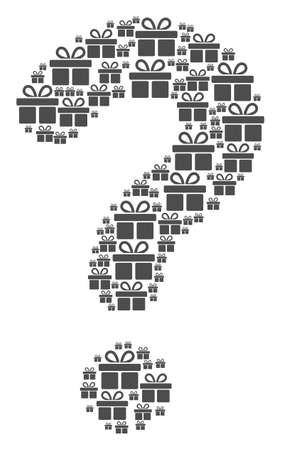 Prompt collage constructed with gift items. Vector gift icons are formed into question mark combination.
