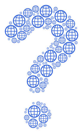 Question mark shape created with globe pictograms. Vector globe icons are formed into problem mosaic.