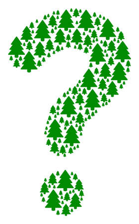 FAQ figure composed with fir-tree objects. Vector fir-tree icons are arranged into prompt combination. Ilustracja