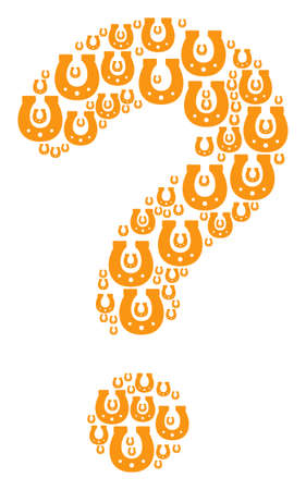 Question mosaic constructed from horseshoe pictograms. Vector horseshoe icons are organized into answer composition.