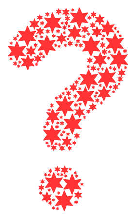 Answer shape created with fireworks star pictograms. Vector fireworks star icons are united into query illustration.