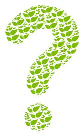 Question mark collage constructed from floral leaves pictograms. Vector floral leaves icons are organized into information composition. 向量圖像
