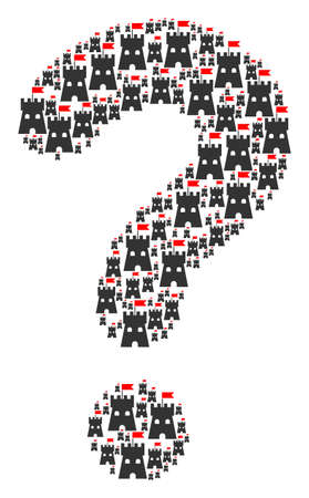 FAQ shape created from fortress tower objects. Vector fortress tower icons are organized into advise figure.