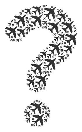 Query figure built of jet plane objects. Vector jet plane icons are organized into advice collage. Stok Fotoğraf - 102429822