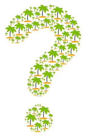 Answer figure formed from island tropic palm elements. Vector island tropic palm icons are grouped into information illustration.