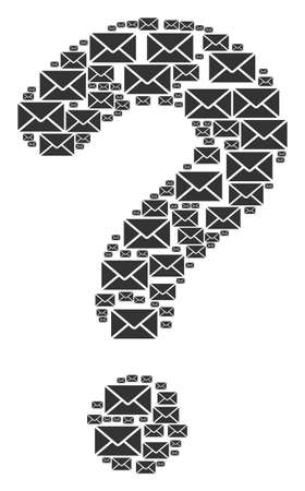 Answer figure composed with mail envelope elements. Vector mail envelope icons are grouped into prompt collage.