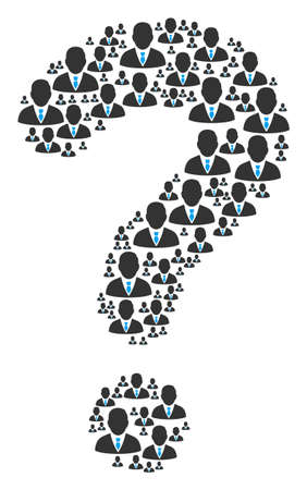 Question mosaic created of manager items. Vector manager icons are grouped into question mark combination.