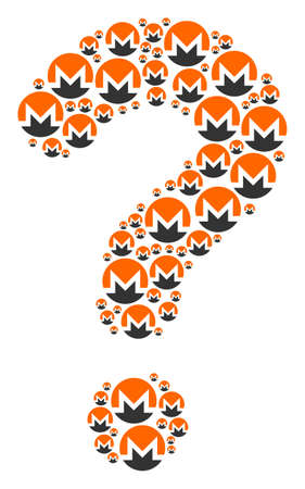 Question mark figure constructed with Monero currency elements. Vector Monero currency icons are formed into SQL composition. 向量圖像