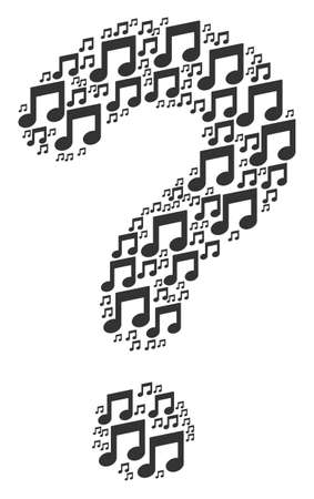 FAQ figure constructed of music notes objects. Vector music notes icons are formed into know how illustration.