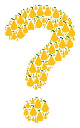 Question composition created with pear objects. Vector pear icons are organized into know how illustration. Illustration