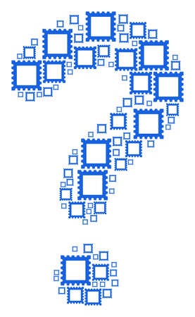 Question mark mosaic made of postage stamp elements. Vector postage stamp icons are grouped into information mosaic. Illustration