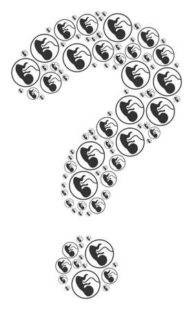 Question shape created from prenatal icons. Vector prenatal icons are grouped into inquire mosaic.