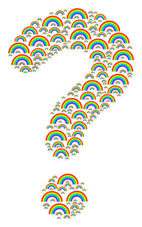 Help mosaic formed with rainbow items. Vector rainbow icons are formed into know how illustration.