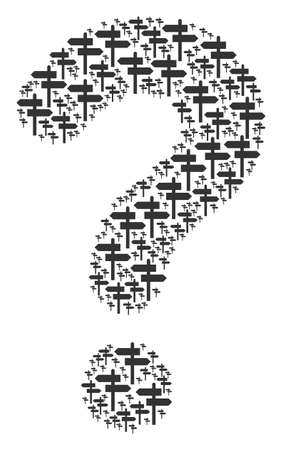 Question mark figure built with road pointer components. Vector road pointer icons are united into FAQ combination.