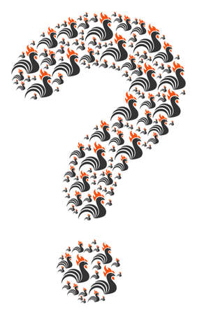 Query collage constructed with rooster pictograms. Vector rooster icons are arranged into prompt composition. Illustration
