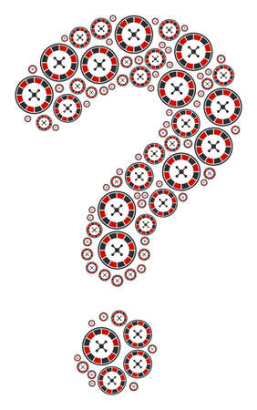 Question mark shape built of roulette elements. Vector roulette icons are united into question mosaic. Illustration