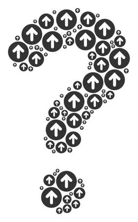 Answer mosaic made from rounded arrow components. Vector rounded arrow icons are formed into query composition.