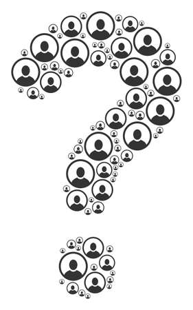 Question mark composition formed from rounded user portrait icons. Vector rounded user portrait icons are arranged into know how mosaic.