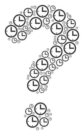 FAQ shape made from time items. Vector time icons are formed into helpdesk illustration. Stock Illustratie