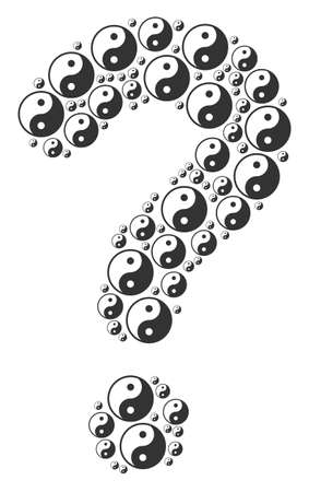 Question mark figure composed of yin yang components. Vector yin yang icons are arranged into info figure.