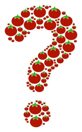 Query shape composed of tomato vegetable components. Vector tomato vegetable icons are organized into problem figure.
