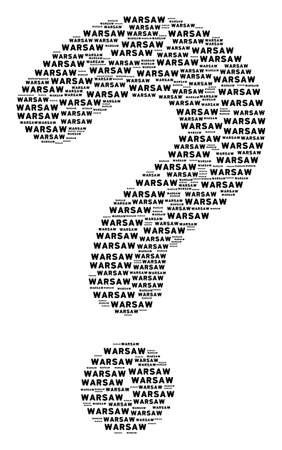 Unknown figure built with warsaw text elements. Vector warsaw text icons are arranged into know how mosaic.
